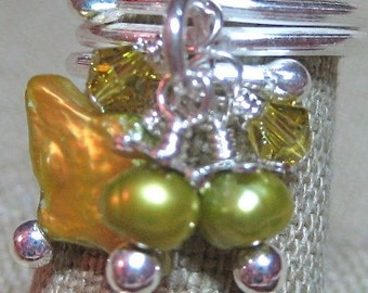 A Touch of Lime Freshwater Pearl & Swarovski Crystal Dangle Ring - R067
