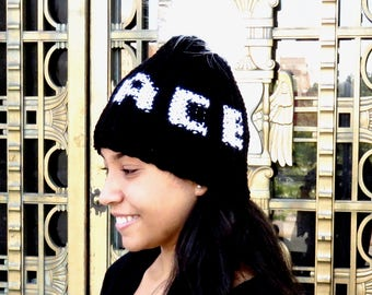 Peace Pom Pom Hat, Crochet Pom Pom Hat, Peace,Tam Hat, Crochet Hat, Color is Black,
