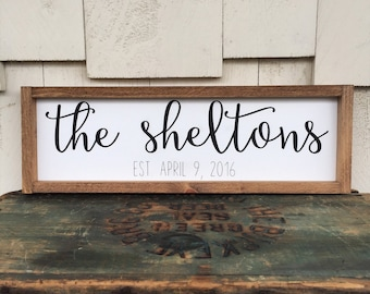 Elegant Personalized Last Name Framed Wood Sign, Cursive Handwritten Font  Calligraphy, Farmhouse Style Wall Hanging