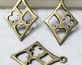 20pcs 18x27mm Antique Bronze Triangle Poker Card Charm Pendant for Earrings F309-1