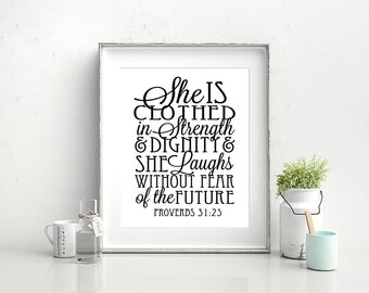 Proverbs 31 Woman - Digital Download Quote / Artwork / Typography Wall Art / Gallery Wall / Christian / Verse