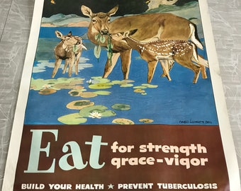 1951 Vintage Eat for Strength Grace & Vigor Michigan Tuberculosis Association Poster