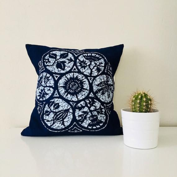 "Boho lndigo Batik Pillow Cover 18""x18"" Square Cushion Pillow Ethnic Bohemian Blue Tie Dye Decorative Bohemian Pillow"