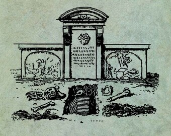 Graveyard with Skulls and Bones  - Antique Style Clear Stamp