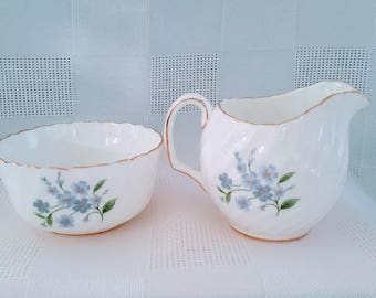Adderley Forget me Not Sugar and Creamer Set, Made in England