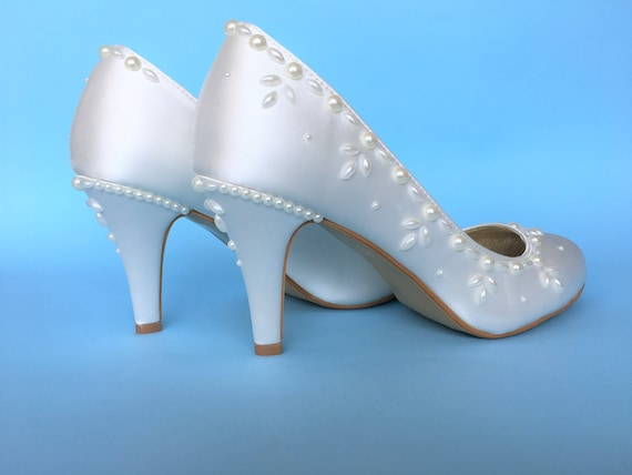 shoes shoes shoes Pearl shoes Wedding Satin bride heels White high heels wedding Wedding Wedding Wedding for Bridal heel shoes Wedding 5aFBgYSqYw