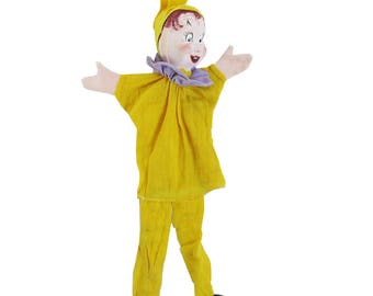 1950s Hand Puppet, Hand Made, Hand Painted - Court Jester, Clown