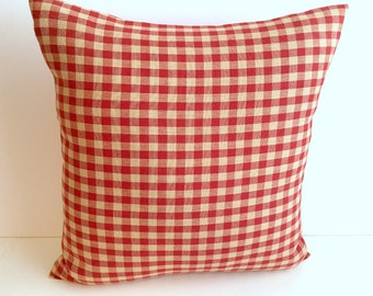Red & Beige Small Checks Pillow Cover