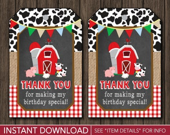 Farm Favor Tags | Barnyard Birthday Party Favor Tags | Printable Digital File | INSTANT DOWNLOAD