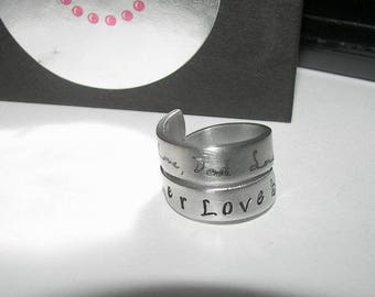 handwriting jewelry, engraved ring, wrap ring,   jewelry,   ring , custom engraved hand writing ring , stamped ring