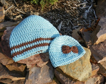 FREE SHIPPING Baby blue and brown Mom and Baby Hat