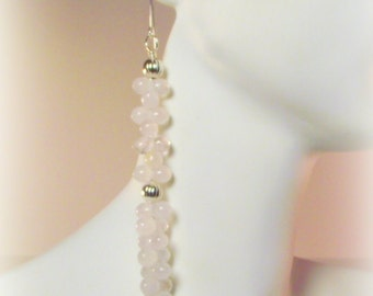 Pink Ice Cascading Earrings Featuring Rose Quartz and Silver