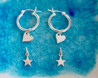 Sterling Silver Hoops - Interchangeable Charm Set - Hoop Earrings - Silver Hoops - Heart Charm Earrings - Girls Hoop Earring - Star Charm