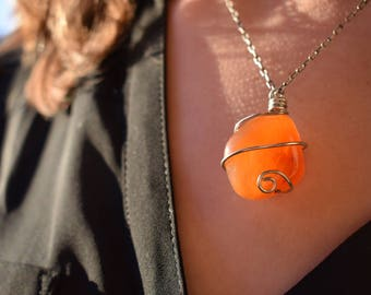 Carnelian Agate Pendant - Agate Necklace - Wire-wrapped Stone - Sterling Silver Wire