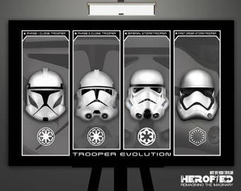 "Star Wars Inspired ""Trooper Evolution"" 17""X11"" Art Print Poster Helmet Study Clone Trooper Stormtrooper First Order Stormtrooper"