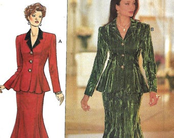 Butterick 3153 Misses/Miss Petite Fast & Easy Fitted And Flared Jacket And Skirt Pattern, Size 6-8-10, UNCUT