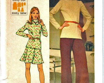 Simplicity 5841 Easy to Make Woman's Knit Turtleneck Top, Knit A-Line Mini Skirt, Knit Flared Pants Sewing Pattern Size 10 Vintage 1970's