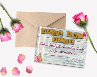 LOVE LETTERS Save the Date cards. Wedding. Rustic. Floral. Scrabble. Invitations and other items also available