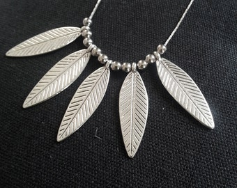Feather Neckalce, Bohemian Necklace Silver, Tribal Necklace, South American Jewelry