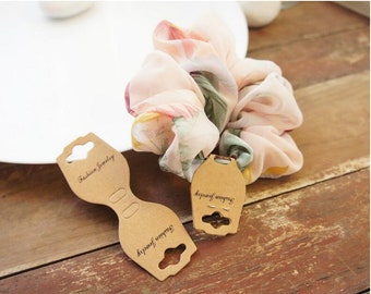 50/100/150pcs Fold Over Kraft Hang Tag for Necklace, Bracelet, Ponytail, Hairband, Elastic, Jewelry Display and Supplies tie your own