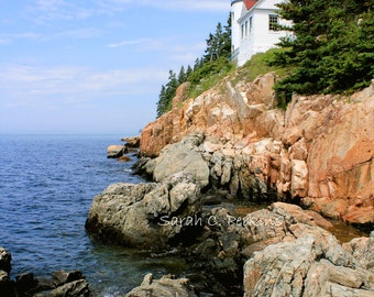 Bass Harbor Lighthouse-Nautical Wall Art-Coastal Maine Photography-Blue Wall Art-Fine Art Photography-24x36-Cliffs-Acadia National Park