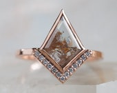 One of a Kind Natural Red Geometric Diamond Engagement Ring