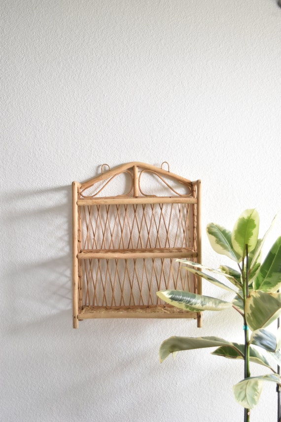tiered woven rattan wicker bamboo wall hanging shelf / ornate wall pocket / office storage