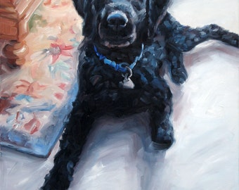 """TailWaggin' Labradoodle, Custom Pet Portrait Oil Painting by puci, 10x12"""""""