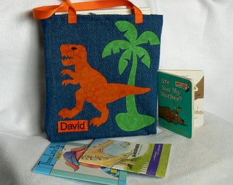 Personalized Gift|T Rex Book Bag|Children Book Bag|Library Book bag|Personalized Dinosaur Trick or Treat|Toddler book bag|Birthday Gift