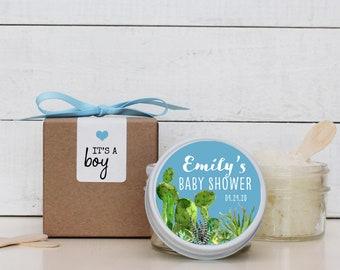 Set of 6 - 4 oz - Sugar Scrub Favor - All-Natural, Vegan - Boy Baby Shower Favors | Cactus Baby Shower Favors | Succulent Baby Shower Favor
