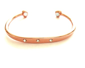 Copper Bracelet Bangle 3 CRYSTAL  Magnetic Healing ARTHRITIS Pain Magnetic X2