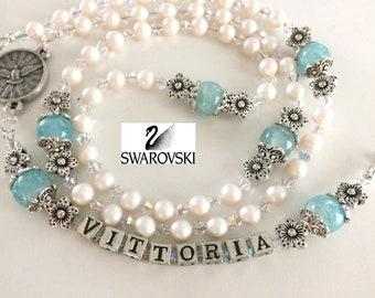 Swarovski Pearl Rosary, Baby Girl Baptism Rosary, First Communion Rosary, Girl's Rosary, Child's Catholic Rosary Beads