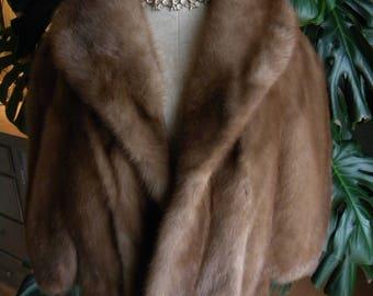 Beautiful Autumn haze mink fur stole / cape / wrap / shrug / real fur / wedding fur