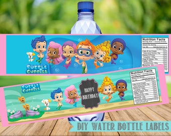 Bubble Guppies Water Bottle Labels- Bubble Guppies Birthday Party Printables-2 Colors-Digital-Instant Download