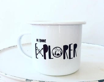 Camp Mug, Outdoor Explorer, Outdoor Adventurer White Mug Enamel Mug