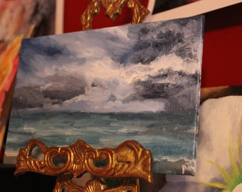 Stormy Florida Seascape Original Oil Painting// Original Art// 4x6 inches on Canvas Panel