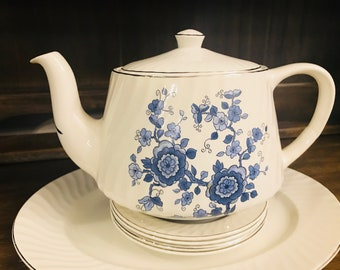 Vintage Wedgwood Teapot With Lid In Royal Blue Ironstone - Blue And White - Flowers