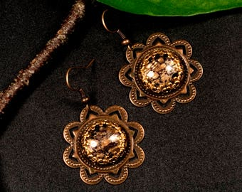 Earrings, copper, mandala, hippie, boho, Gipsy, flower