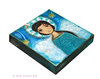 Angel -   Giclee print mounted on Wood (4 x 4 inches) Folk Art  by FLOR LARIOS