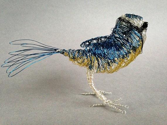 Draht Vogel Beau blau Tit Skulptur Miniatur Tier