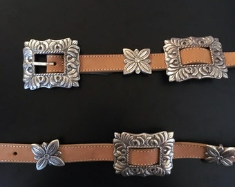 BRIGHTON Belt + Vintage 90s 1994 Brighton Belt + Tan Leather Southwestern Belt + Silver Metal Buckle + Western Belt + Rodeo Belt +