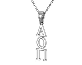 Alpha Omicron Pi Necklace - Sterling Silver / AOPi Necklace / AOPi Lavalier / Big Little Gift / Sorority Jewelry
