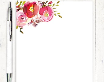 personalized notePAD - PINK PEONIES WATERCOLOR flowers - personalized stationary - stationery - letter writing paper - pretty paper