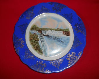 "One (1), 9 5/8"", Porcelain, Souvenir Plate, of Prospect Point, Niagara Fall, by CN (Crown), Marked; Germany, U.S. Zone."
