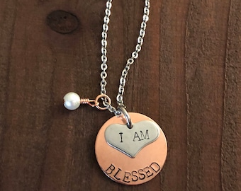 I Am Blessed Necklace- I Am Blessed Jewelry- Copper &Silver Jewelry- Hand Stamped Jewelry- Mothers Day Gift- Christian Jewelry- Gifts For He