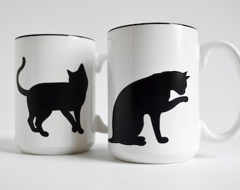 Cat Mugs - Set of Two 15 oz Cat and Paw Mugs for Cat Lovers, Black Cats, Cat Lover Gift, Mug Gift Set, Black Cat Mug, Cat Mug, Coffee Mug