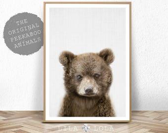 Baby Bear, Digital Download, Woodland Nursery Decor, Wall Art Print, Printable Kids Room Large Poster, Bear Cub Nursery Animal, Colour Photo