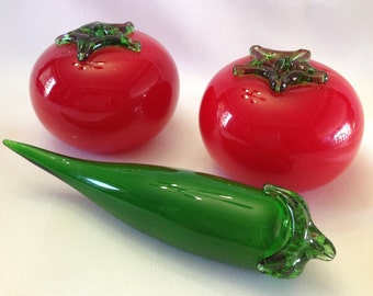 Vintage Hand Blown Glass Tomatoes and Pepper