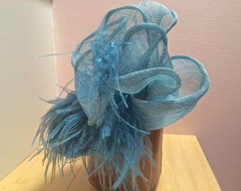 SALE Turquoise Sinamay Fascinator, wedding headpiece. Perfect Mother of the Bride or Bridesmaids hat. Destination Wedding or Beach Party