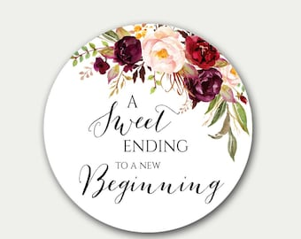 Wedding Favor Tag, A Sweet Ending To A New Beginning, Favor Tag, Floral Favor Tag, Favor Labels, 2.5 inch, Marsala Candy Label, Wedding Tags
